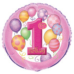 First Bday Balloons Pink